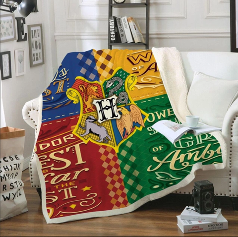 Hogwarts Four Houses Qualities Throw Rug