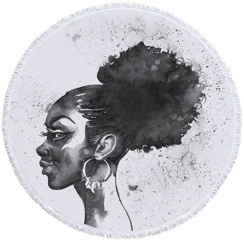 Black & White African Lady Round Towel