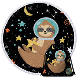 Outer Space Sloth Holding A Star Round Towel