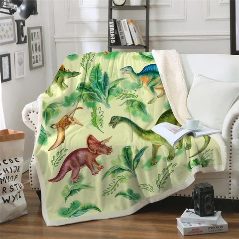 Green Dinosaur Breeds Throw Rug