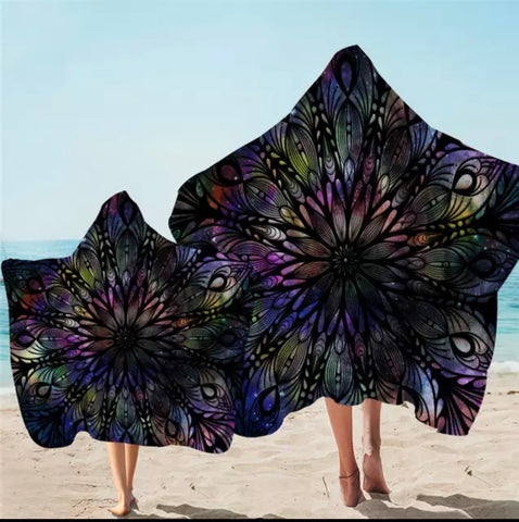 Rainbow & Black Mandala Flower Hooded Towel