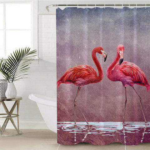 Couple Of Flamingos Shower Curtain