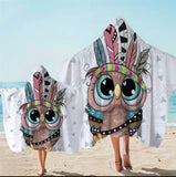 Cartoon Indian Owl Hooded Towel