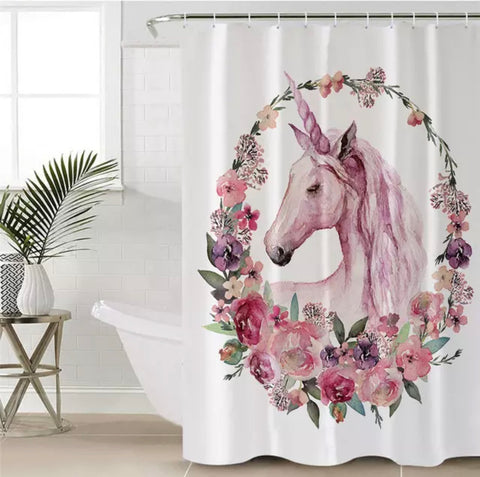 Unicorn With Floral Wreath Shower Curtain