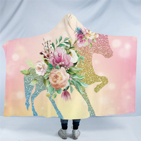 Floral Unicorn Hooded Blanket
