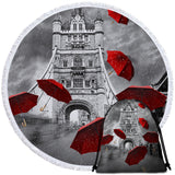 Red Umbrellas Tower Of London Round Towel
