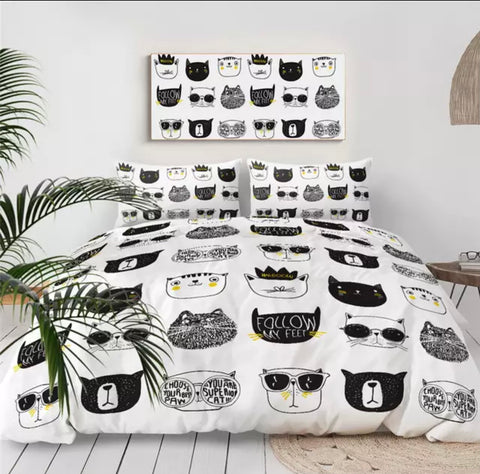 Multiple Cats Faces Bedding Set