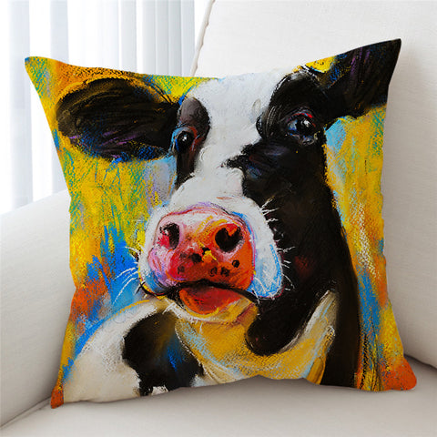 Acrylic Painting Cow Cushion Cover