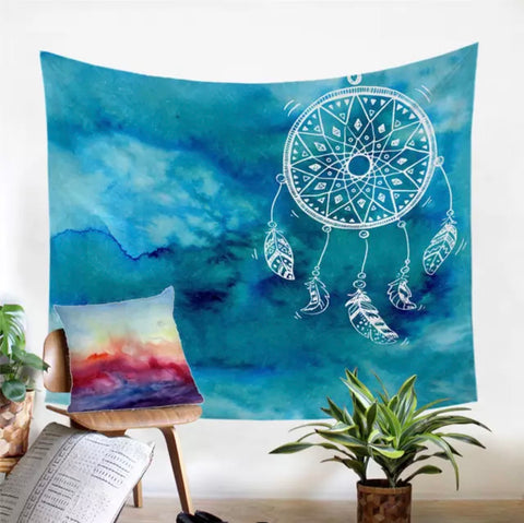 Blue Dreamcatcher Wall Tapestry
