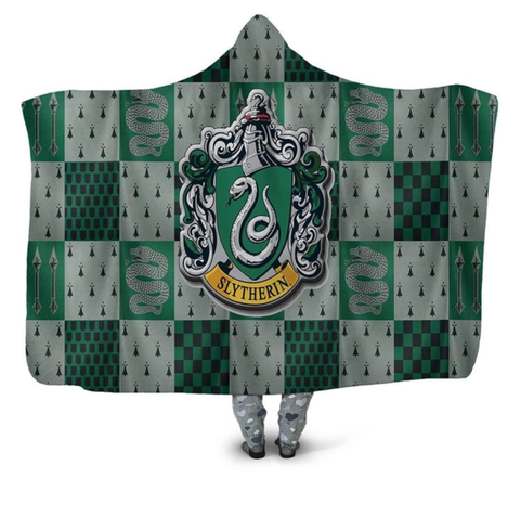 Slytherin Checkered Hooded Blanket