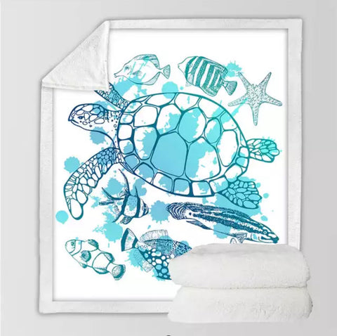 Blue & White Turtle & Fish Throw Rug