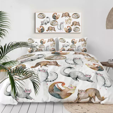Watercolour Cats Bedding Set
