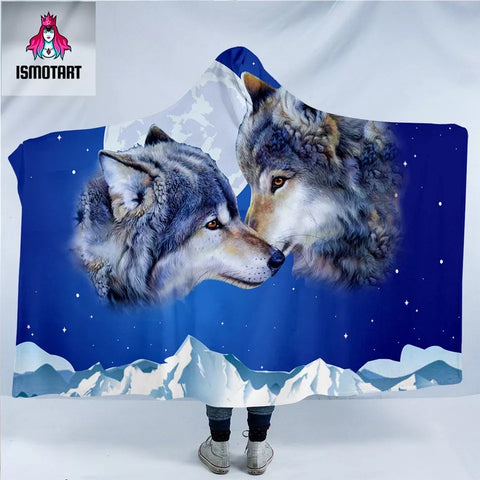 Wolf Couple By Ismot Esha Hooded Blanket