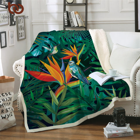 Two Birds On Bird Of Paradise Throw Rug