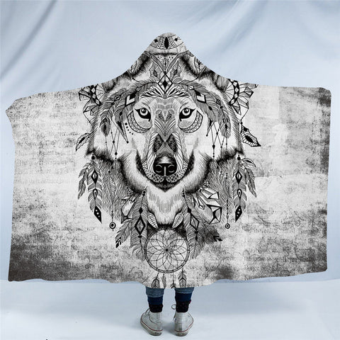 Black & White Indian Wolf Hooded Blanket