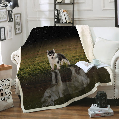 Husky Puppy Looking At Reflection Of Adult Self Throw Rug