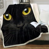 Black Cats Yellow Eyes Hooded Blanket