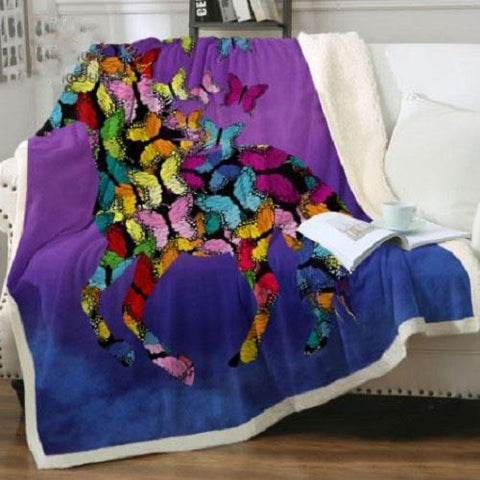 Butterfly Horse Throw Rug