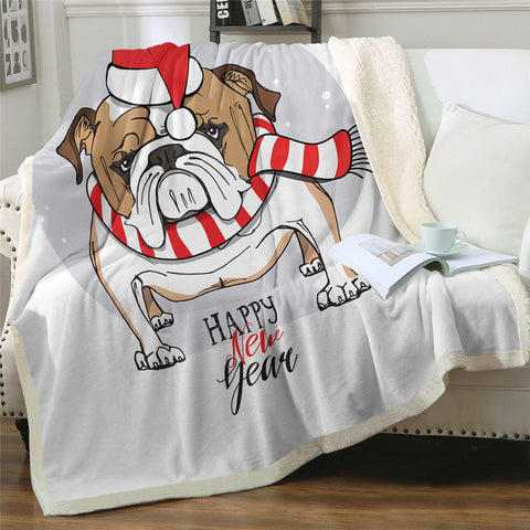 Happy New Year Bulldog Throw Rug