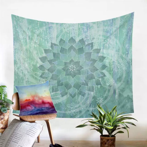 Green Mandala Wall Tapestry