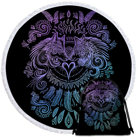 Wolves Heart (Black) By SunimaArt Round Towel