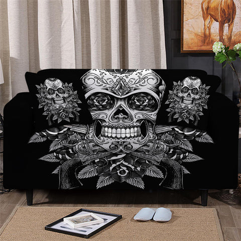 Black & White Vintage Skull & Roses Sofa Cover