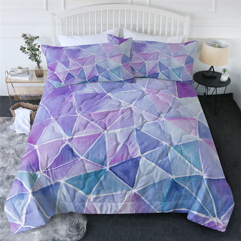 Purple Geometric Triangles Comforter Set
