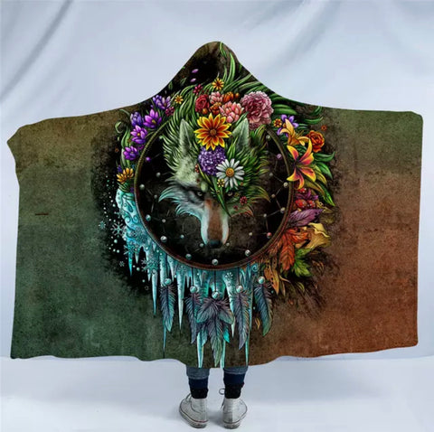 Wolf Seasons Dreamcatcher By SunimaArt Hooded Blanket