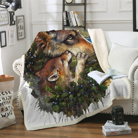 Fox Mum & Cub Throw Rug