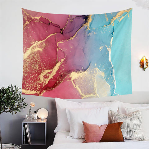Red, Blue & Gold Marble Wall Tapestry