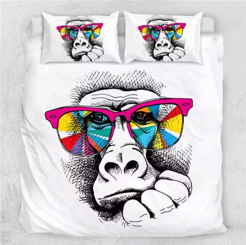 Gorilla Wearing Rainbow Glasses Bedding Set