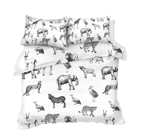 Black & White African Animals Bedding Set
