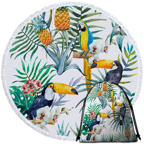 Toucan & Macaw Round Towel