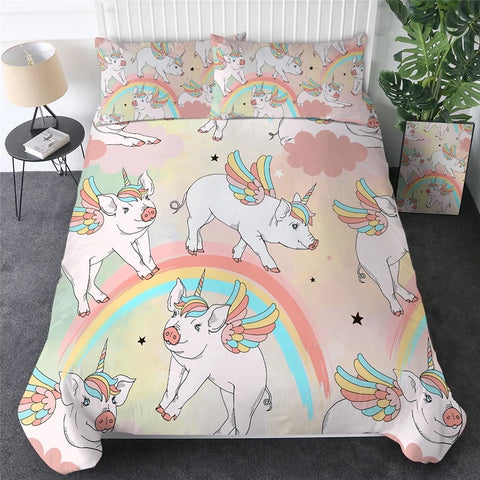 Flying Unicorn Pig Bedding Set
