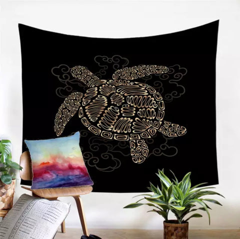 Golden Turtle Wall Tapestry