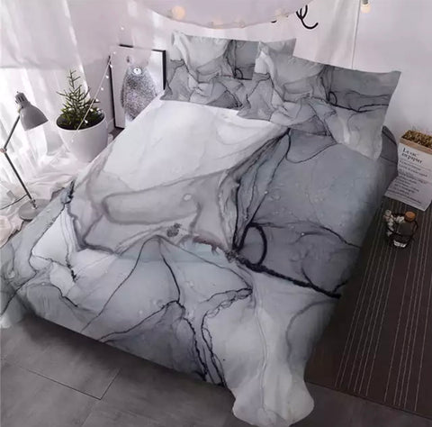 Grey Marble Bedding Set