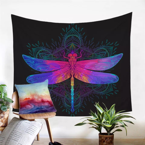 Rainbow Dragonfly Wall Tapestry