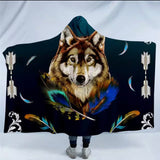 Royal Wolf Blue By Ismot Esha Hooded Blanket