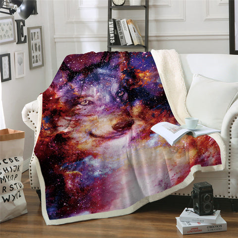 Galaxy Wolf Throw Rug