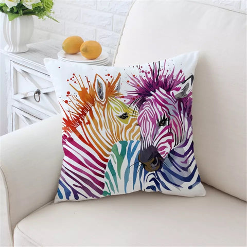 Rainbow Zebras Cushion Cover