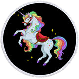 Rainbow Unicorn With Saddle Round Towel
