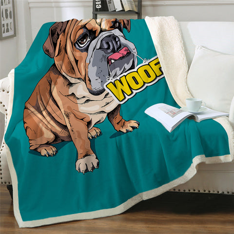 WOOF Bulldog Throw Rug