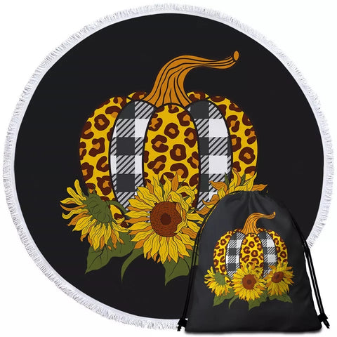 Pumpkin & Three Sunflowers Round Towel