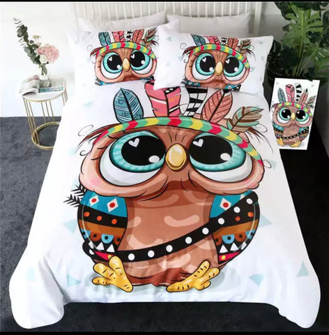 Cartoon Indian Owl Bedding Set