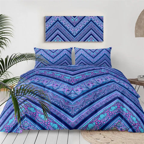 Blue & Pink Zigzag Bedding Set