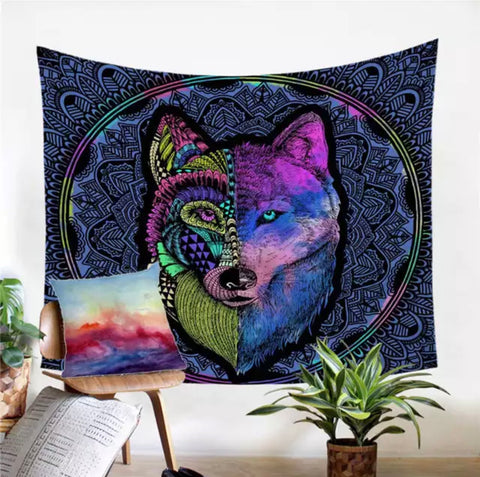 Artistic Wolf Wall Tapestry