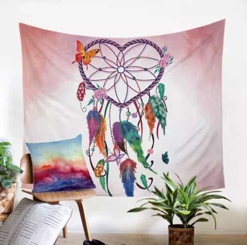 Heart Dreamcatcher (Pink) Wall Tapestry