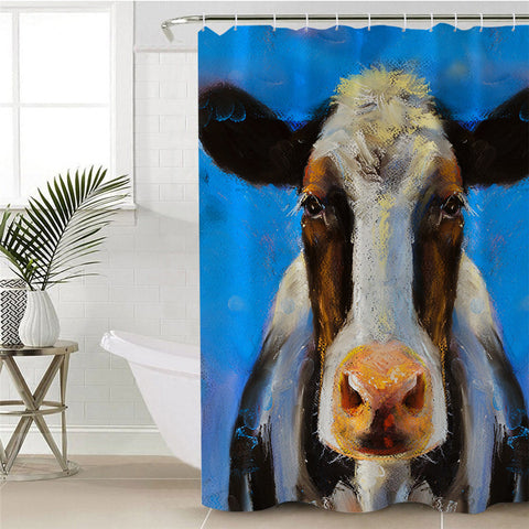 Acrylic Painting Cow (Blue) Shower Curtain
