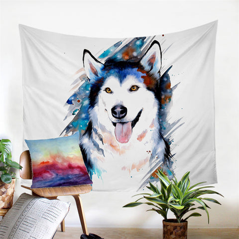 Husky By Pixie Cold Art Wall Tapestry