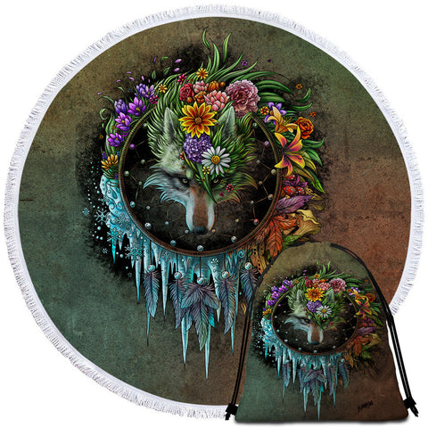 Wolf Seasons Dreamcatcher By SunimaArt Round Towel